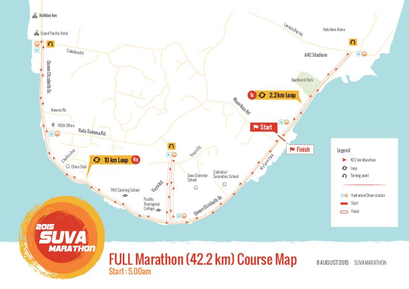 FULL Marathon course map (2015 Suva Marathon, Suva City, Fiji)