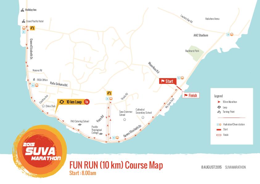 FUN RUN course map (2015 Suva Marathon, Suva City, Fiji)