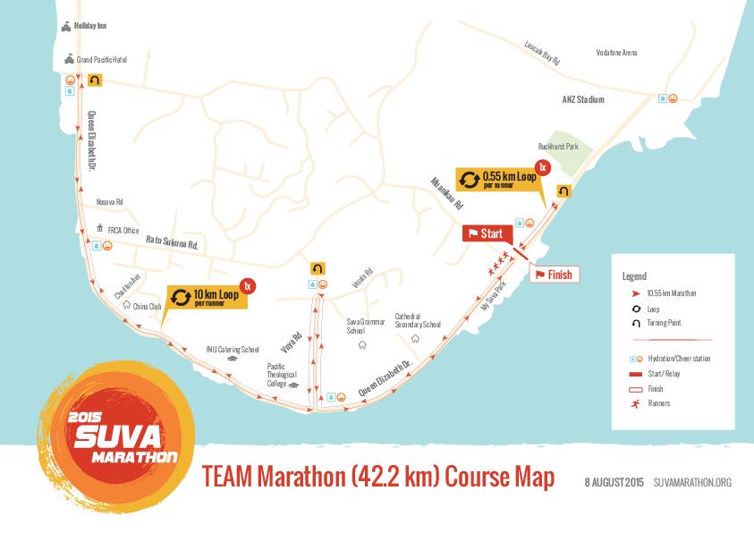 TEAM Marathon course map (2015 Suva Marathon, Suva City, Fiji)