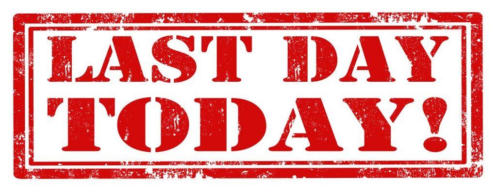 Last day to Register: Registrations close midnight